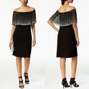 MSK Black Beaded Cape Overlay Off-Shoulder Dress